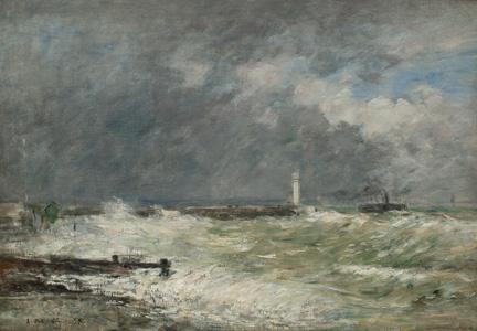 Eugène Boudin, Entrée des jetées du Havre par gros temps, 1895